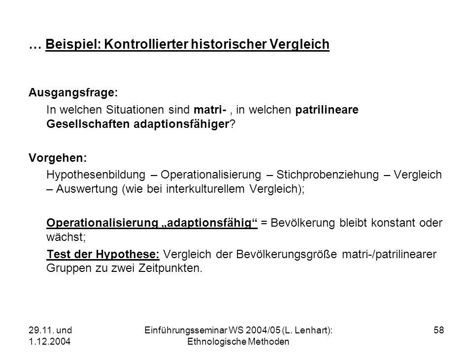 29.11. und 1.12.2004 Einführungsseminar WS 2004/05 (L. Lenhart): Ethnologische Methoden 58 … Beispiel: Kontrollierter historischer Vergleich Ausgangsf