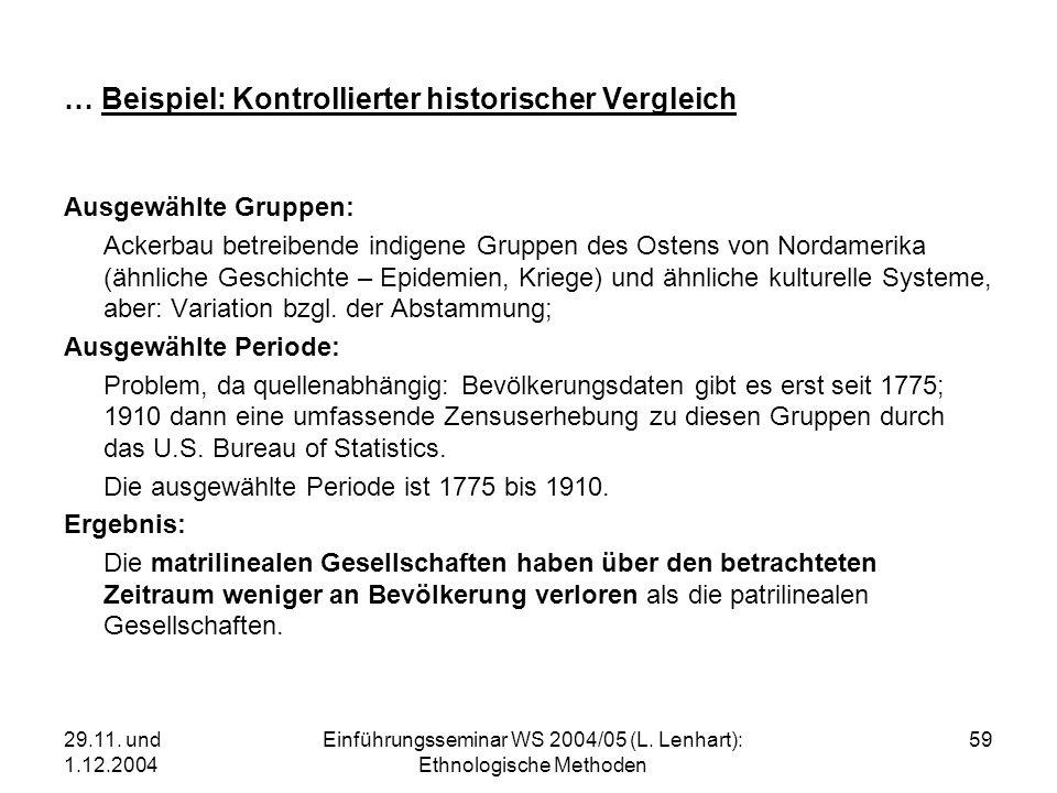 29.11. und 1.12.2004 Einführungsseminar WS 2004/05 (L. Lenhart): Ethnologische Methoden 59 … Beispiel: Kontrollierter historischer Vergleich Ausgewähl