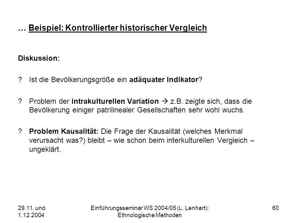 29.11. und 1.12.2004 Einführungsseminar WS 2004/05 (L. Lenhart): Ethnologische Methoden 60 … Beispiel: Kontrollierter historischer Vergleich Diskussio