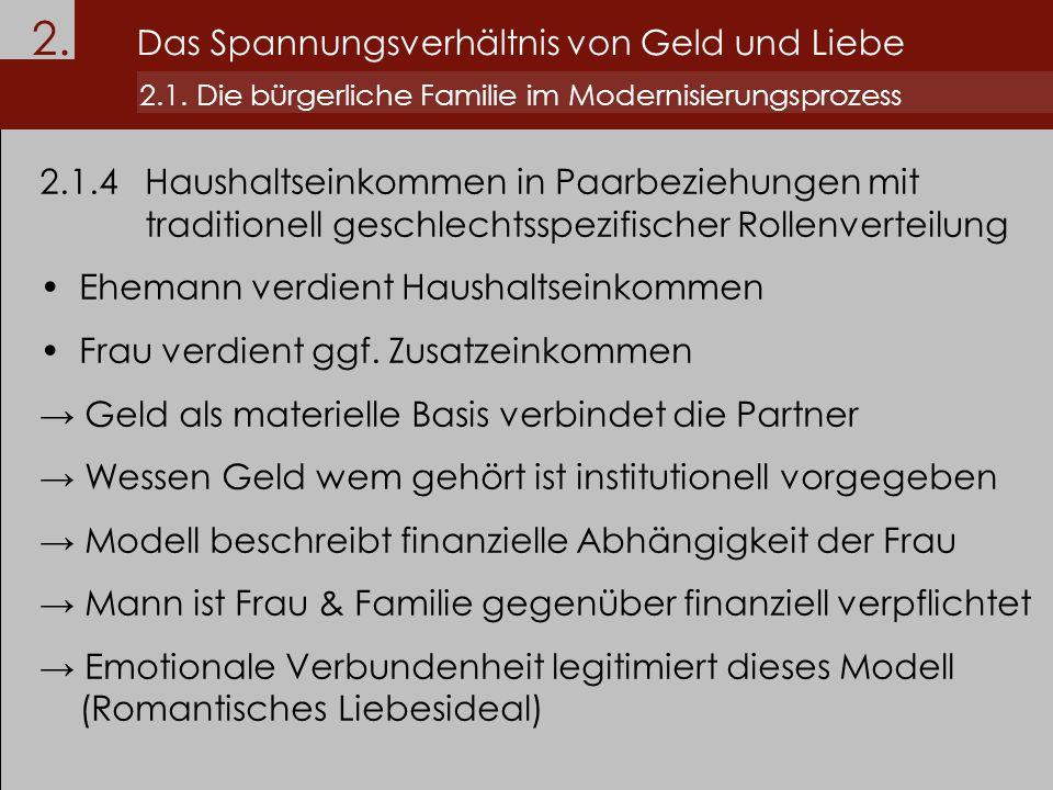 2. Das Spannungsverhältnis von Geld und Liebe 2.1. Die bürgerliche Familie im Modernisierungsprozess 2.1.4Haushaltseinkommen in Paarbeziehungen mit tr
