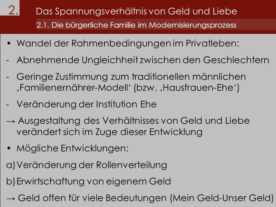 2. Das Spannungsverhältnis von Geld und Liebe 2.1. Die bürgerliche Familie im Modernisierungsprozess Wandel der Rahmenbedingungen im Privatleben: -Abn