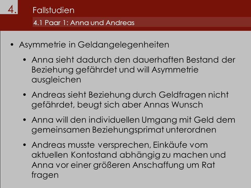 4. Fallstudien 4.1 Paar 1: Anna und Andreas Asymmetrie in Geldangelegenheiten Anna sieht dadurch den dauerhaften Bestand der Beziehung gefährdet und w
