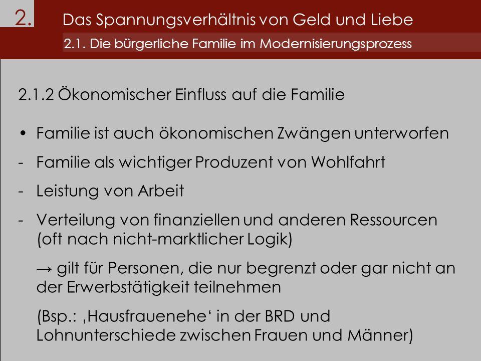 2.1.2 Ökonomischer Einfluss auf die Familie Familie ist auch ökonomischen Zwängen unterworfen -Familie als wichtiger Produzent von Wohlfahrt -Leistung