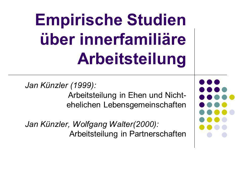 Empirische Studien über innerfamiliäre Arbeitsteilung Jan Künzler (1999): Arbeitsteilung in Ehen und Nicht- ehelichen Lebensgemeinschaften Jan Künzler