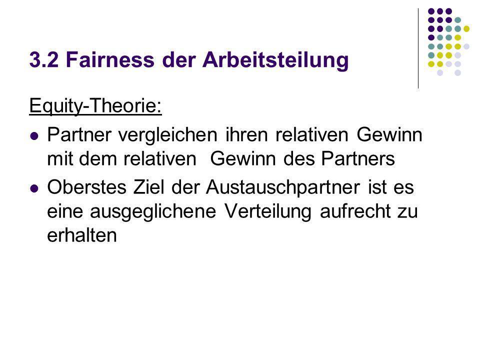 3.2 Fairness der Arbeitsteilung Equity-Theorie: Partner vergleichen ihren relativen Gewinn mit dem relativen Gewinn des Partners Oberstes Ziel der Aus