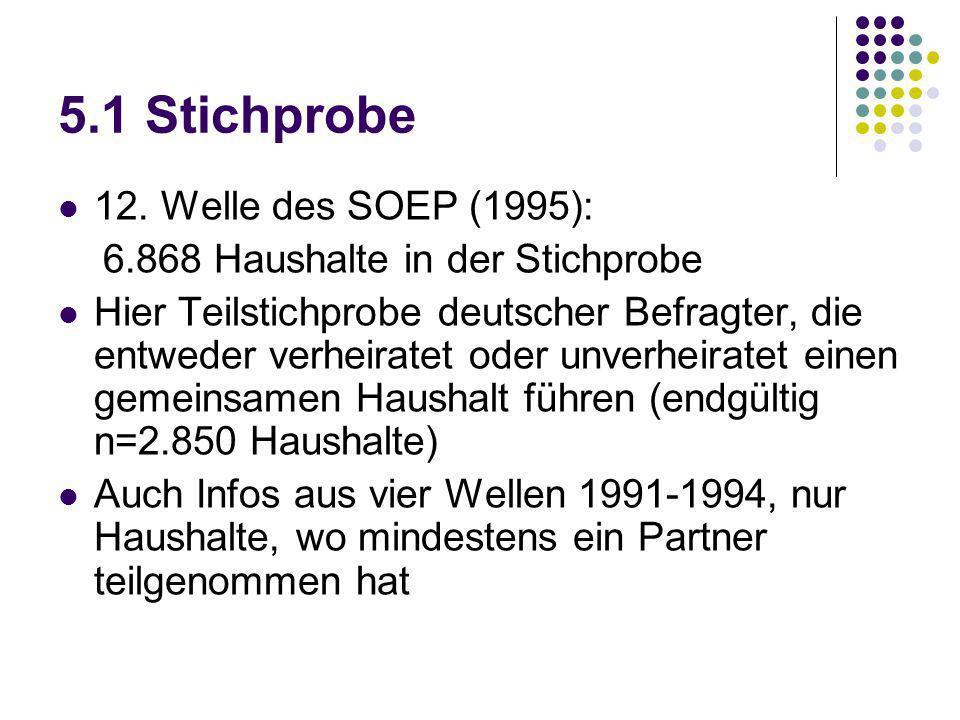 5.1 Stichprobe 12. Welle des SOEP (1995): 6.868 Haushalte in der Stichprobe Hier Teilstichprobe deutscher Befragter, die entweder verheiratet oder unv