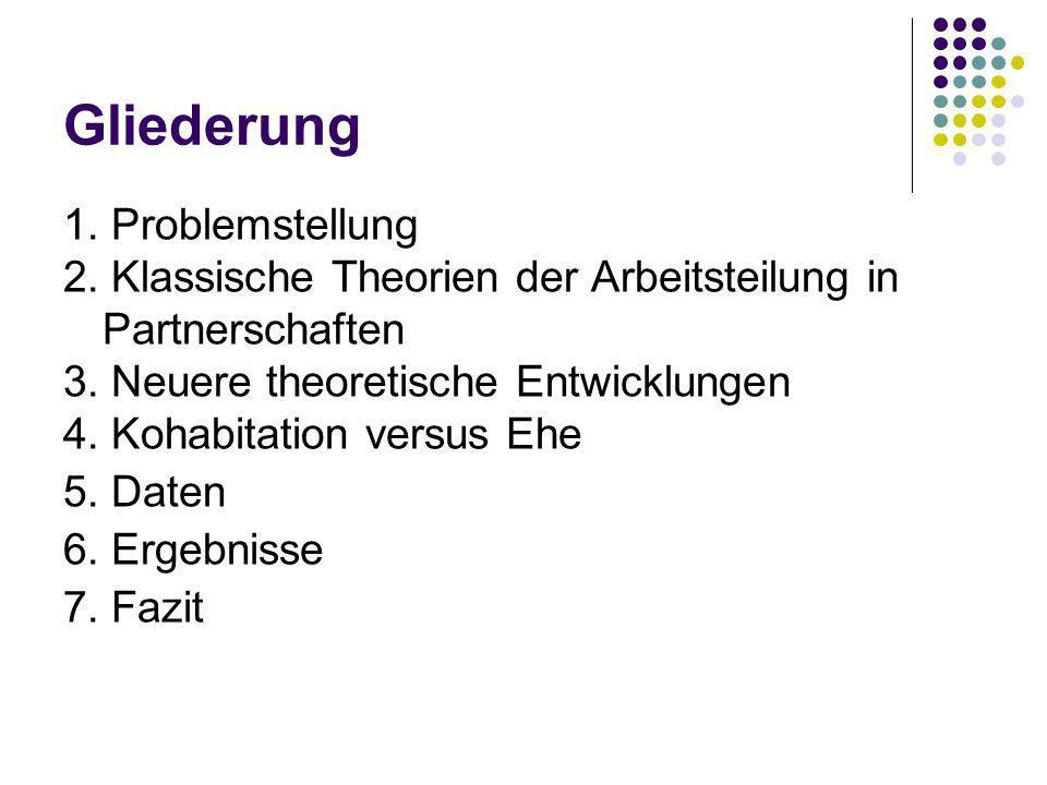 Gliederung 1. Problemstellung 2. Klassische Theorien der Arbeitsteilung in Partnerschaften 3. Neuere theoretische Entwicklungen 4. Kohabitation versus
