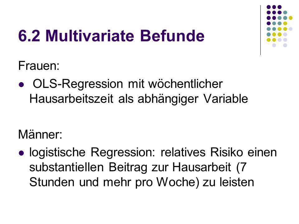6.2 Multivariate Befunde Frauen: OLS-Regression mit wöchentlicher Hausarbeitszeit als abhängiger Variable Männer: logistische Regression: relatives Ri