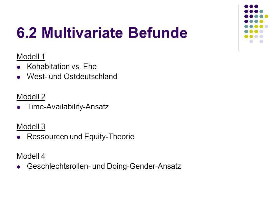 6.2 Multivariate Befunde Modell 1 Kohabitation vs. Ehe West- und Ostdeutschland Modell 2 Time-Availability-Ansatz Modell 3 Ressourcen und Equity-Theor