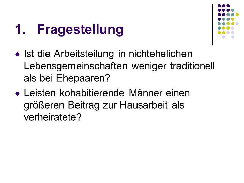 Modell 1 Frauen: Kohabitierende Frauen leisten 5,5 Stunden weniger Hausarbeit als verheiratete Ostdeutsche Frauen 3,5 Stunden weniger als Westdeutsche (R²=0,013) Männer: Bei kohabitierenden Männern steigt das relative Risiko um 54,3 % substantielle Beiträge zur Hausarbeit zu leisten Bei ostdeutschen Männern steigt es um 75% (R²=0,018)