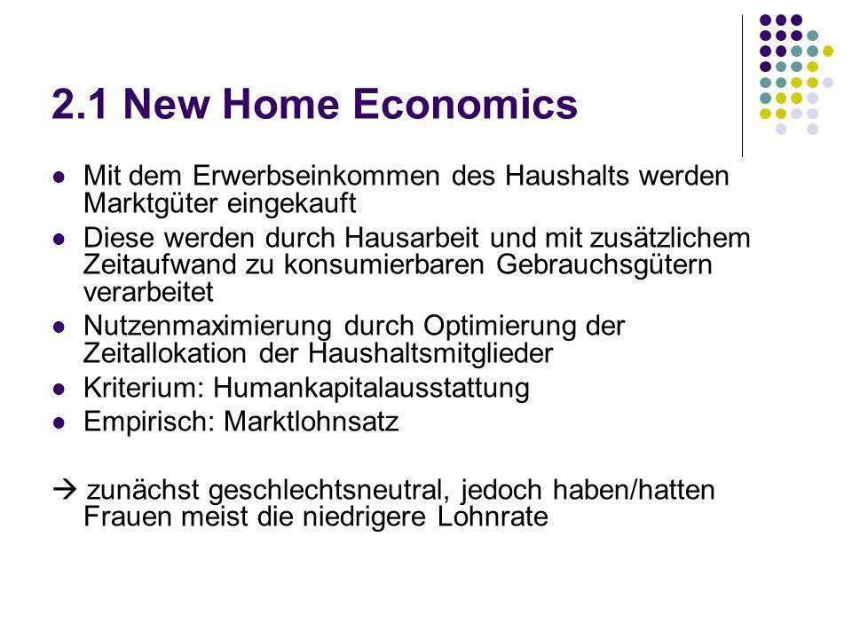 2.1 New Home Economics Mit dem Erwerbseinkommen des Haushalts werden Marktgüter eingekauft Diese werden durch Hausarbeit und mit zusätzlichem Zeitaufw