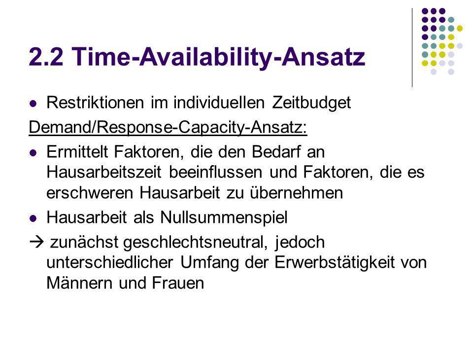 2.2 Time-Availability-Ansatz Restriktionen im individuellen Zeitbudget Demand/Response-Capacity-Ansatz: Ermittelt Faktoren, die den Bedarf an Hausarbe