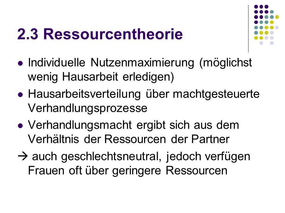 2.3 Ressourcentheorie Individuelle Nutzenmaximierung (möglichst wenig Hausarbeit erledigen) Hausarbeitsverteilung über machtgesteuerte Verhandlungspro