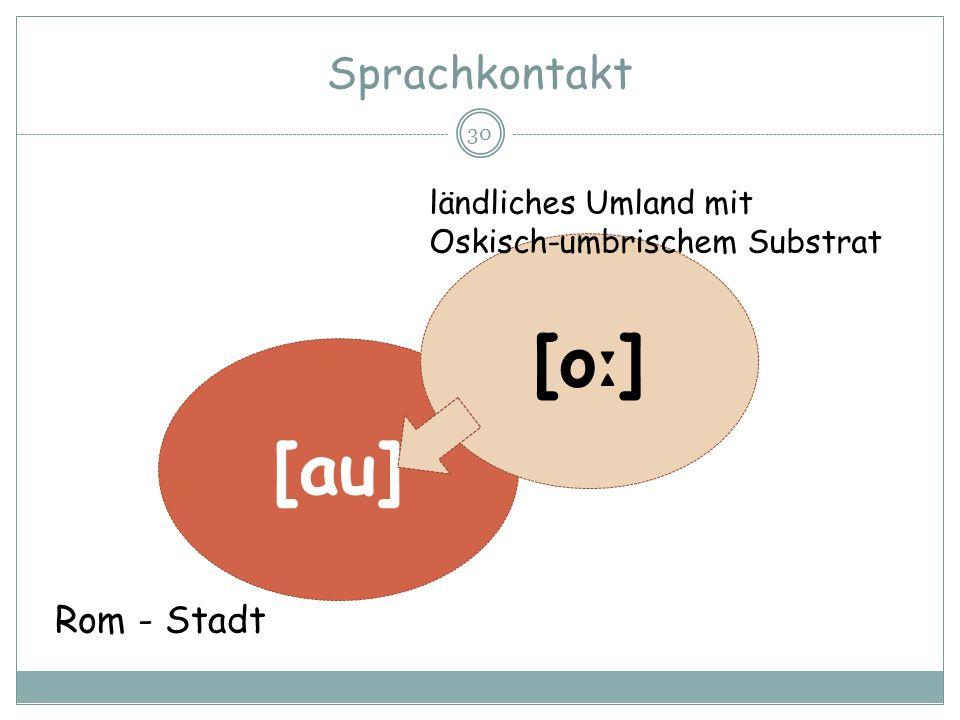 Sprachkontakt 30 [au] [o ː ] Rom - Stadt ländliches Umland mit Oskisch-umbrischem Substrat