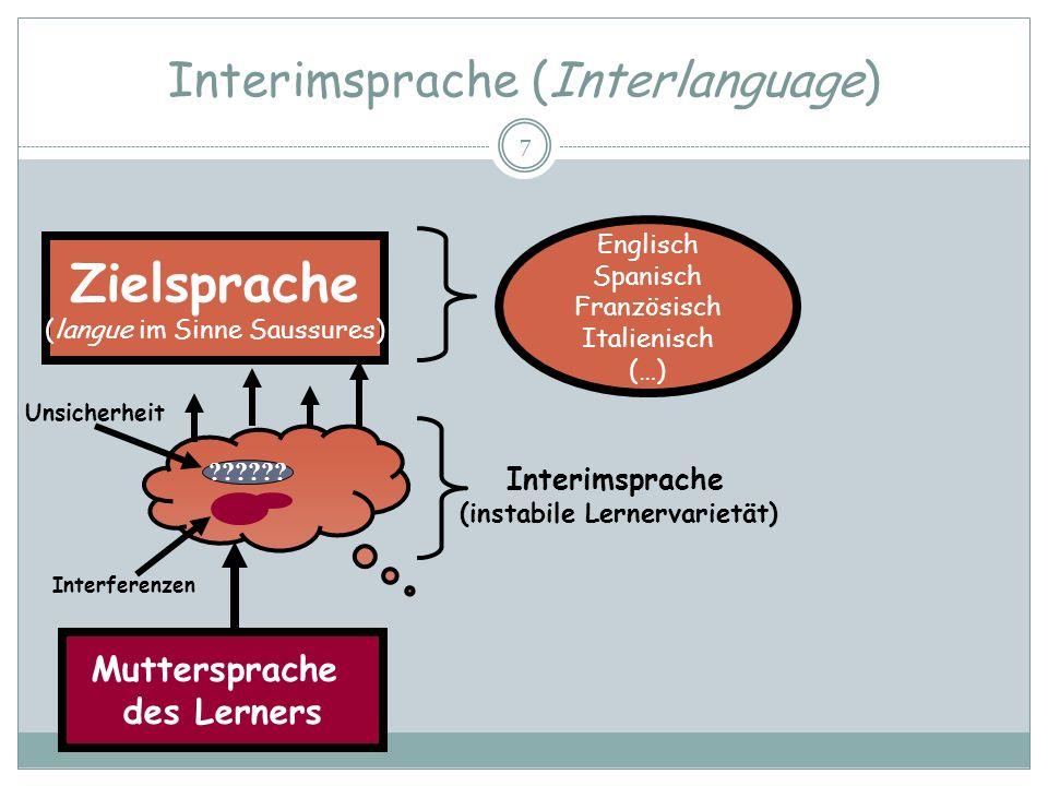 Interimsprache (Interlanguage) 7 Zielsprache (langue im Sinne Saussures) Englisch Spanisch Französisch Italienisch (…) ?????? Muttersprache des Lerner