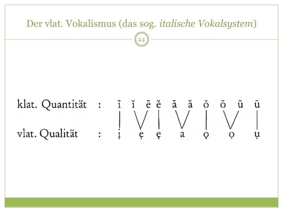 24 Der vlat. Vokalismus (das sog. italische Vokalsystem)