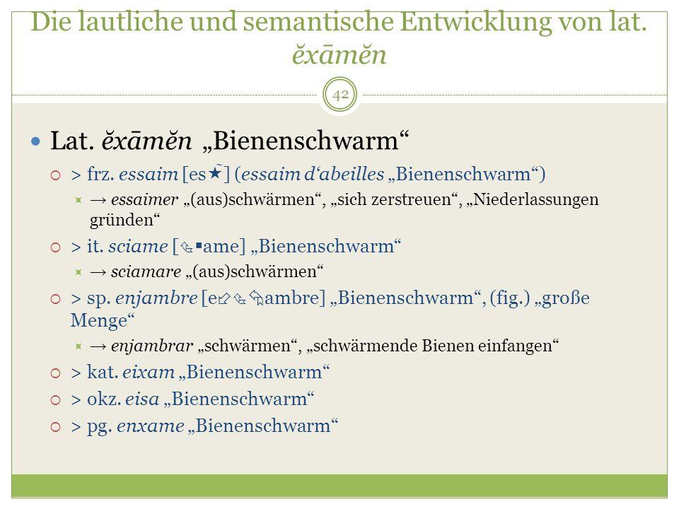 42 Die lautliche und semantische Entwicklung von lat. ĕxāmĕn Lat. ĕxāmĕn Bienenschwarm > frz. essaim [es ̃ ] (essaim dabeilles Bienenschwarm) essaimer