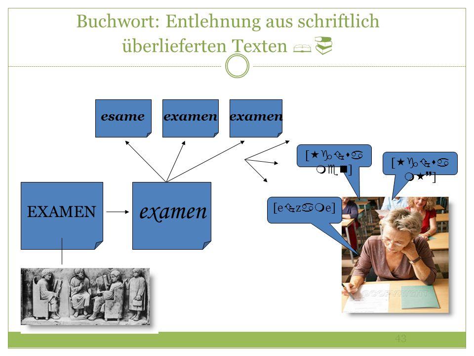 43 Buchwort: Entlehnung aus schriftlich überlieferten Texten examen EXAMEN esameexamen [ ] [e z e] [ ]