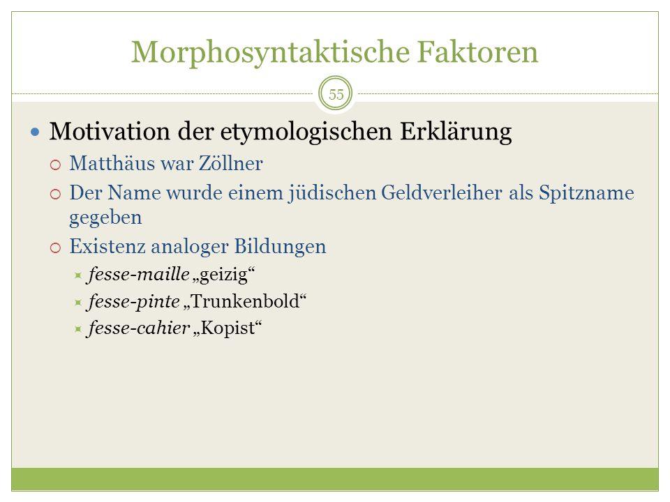 55 Morphosyntaktische Faktoren Motivation der etymologischen Erklärung Matthäus war Zöllner Der Name wurde einem jüdischen Geldverleiher als Spitzname
