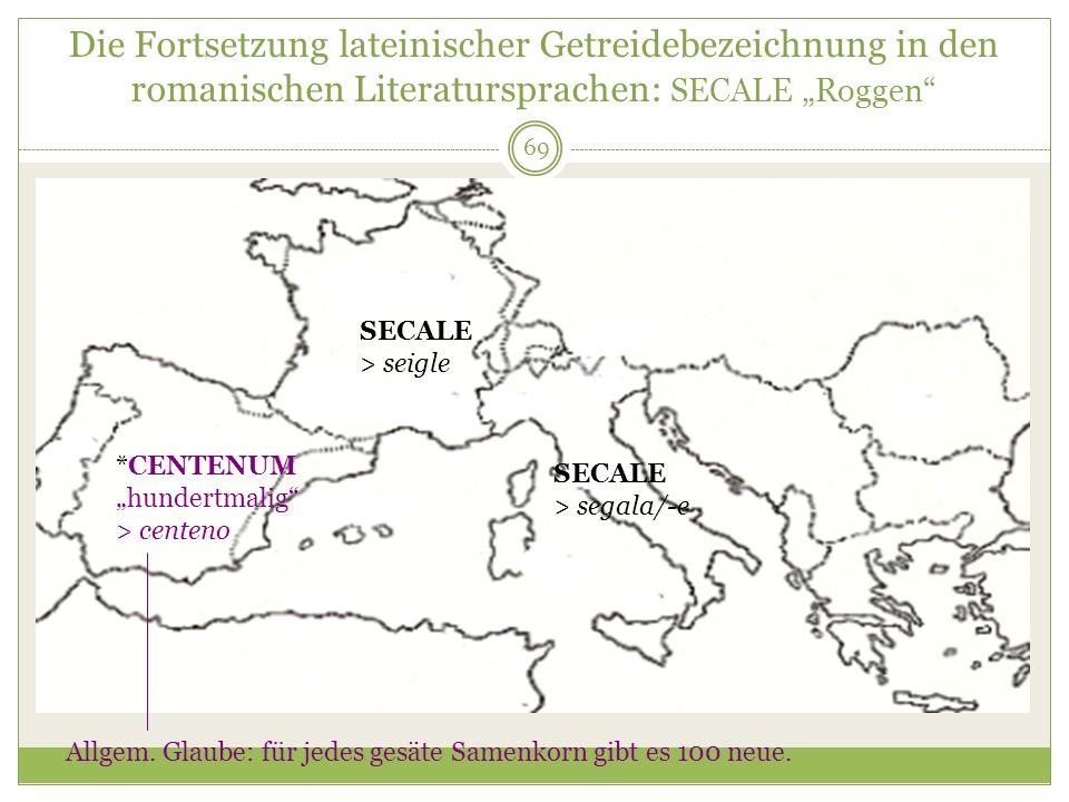 69 Die Fortsetzung lateinischer Getreidebezeichnung in den romanischen Literatursprachen: SECALE Roggen SECALE > seigle SECALE > segala/-e *CENTENUM h