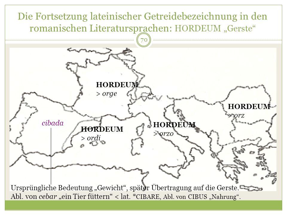 70 Die Fortsetzung lateinischer Getreidebezeichnung in den romanischen Literatursprachen: HORDEUM Gerste HORDEUM > orzo HORDEUM > orz HORDEUM > orge H