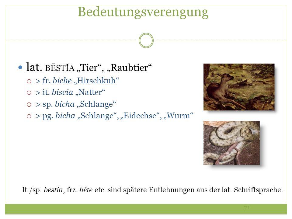 71 Bedeutungsverengung lat. BĒSTĬA Tier, Raubtier > fr. biche Hirschkuh > it. biscia Natter > sp. bicha Schlange > pg. bicha Schlange, Eidechse, Wurm