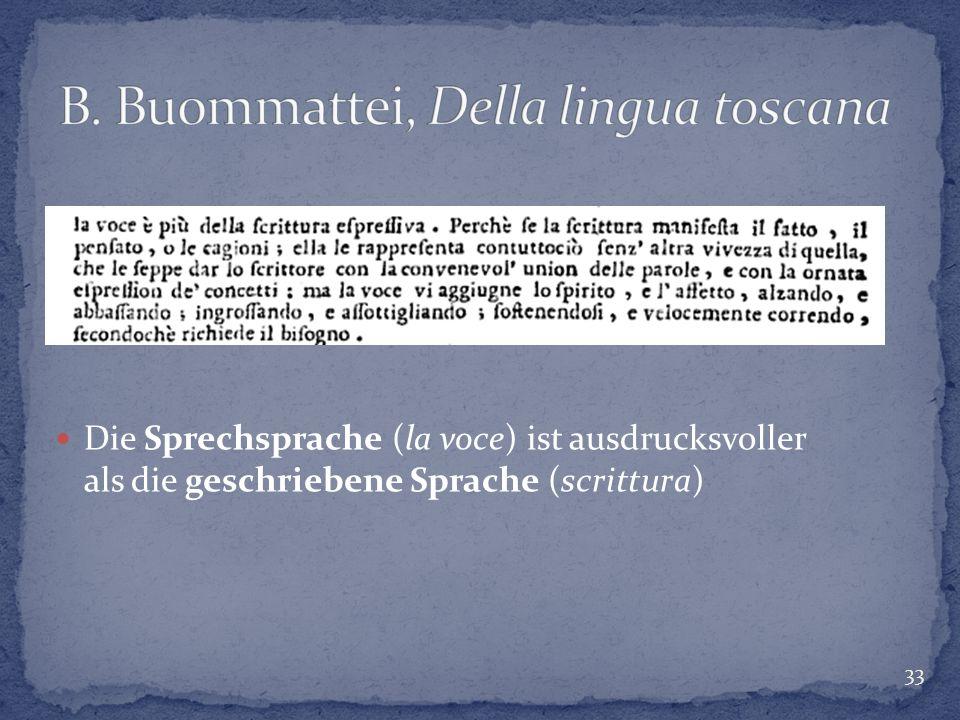 33 Die Sprechsprache (la voce) ist ausdrucksvoller als die geschriebene Sprache (scrittura)