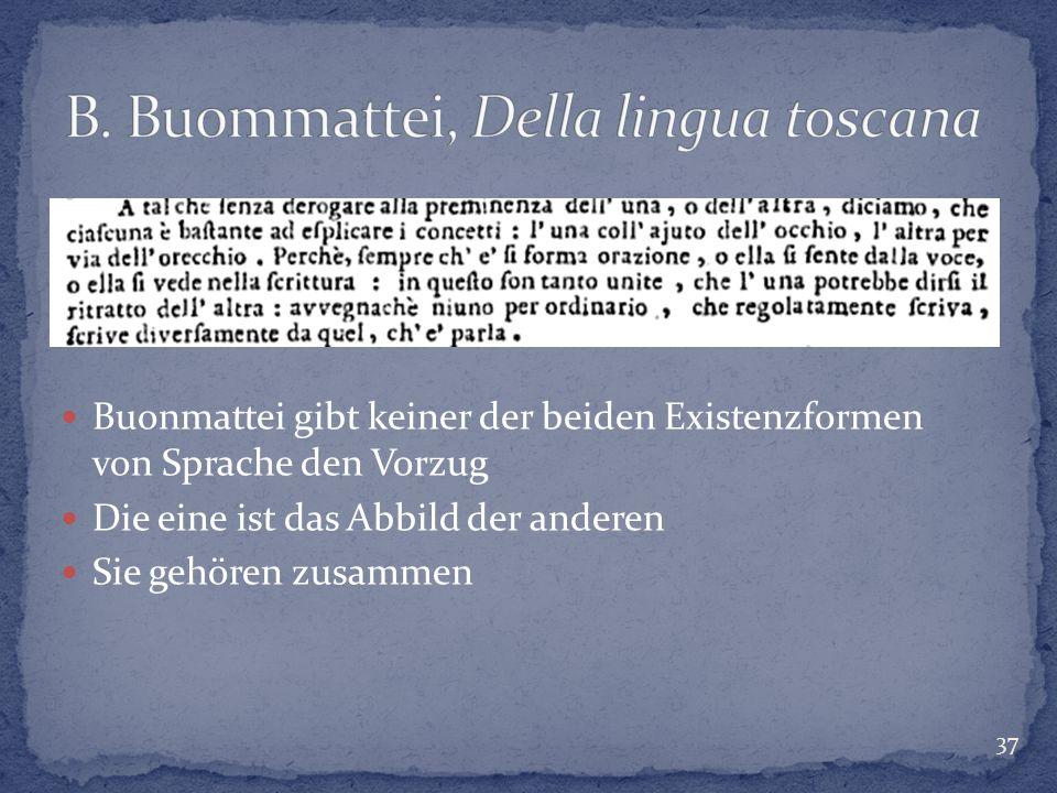 37 Buonmattei gibt keiner der beiden Existenzformen von Sprache den Vorzug Die eine ist das Abbild der anderen Sie gehören zusammen