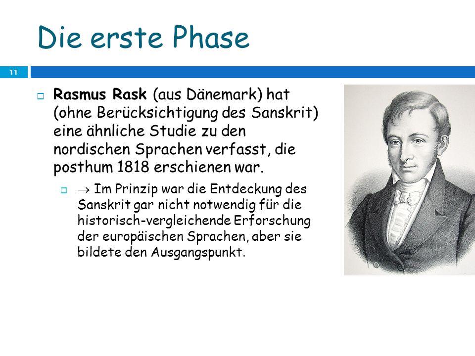 Die erste Phase Rasmus Rask (aus Dänemark) hat (ohne Berücksichtigung des Sanskrit) eine ähnliche Studie zu den nordischen Sprachen verfasst, die post