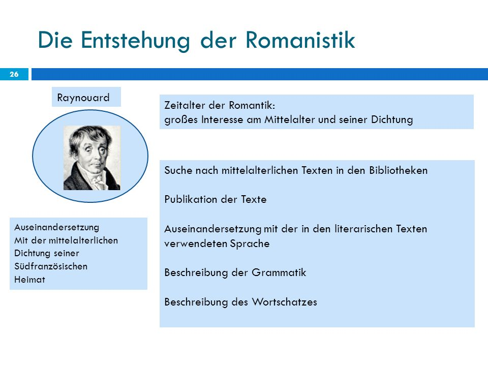 Die Entstehung der Romanistik 26 Raynouard Zeitalter der Romantik: großes Interesse am Mittelalter und seiner Dichtung Suche nach mittelalterlichen Te