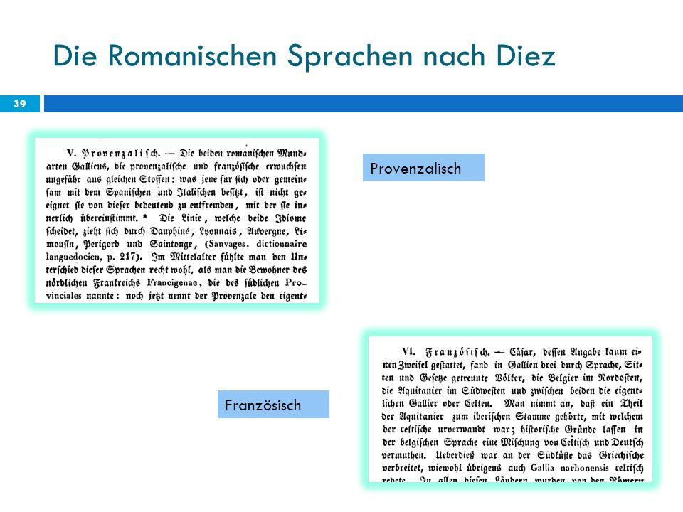 Die Romanischen Sprachen nach Diez 39 Provenzalisch Französisch