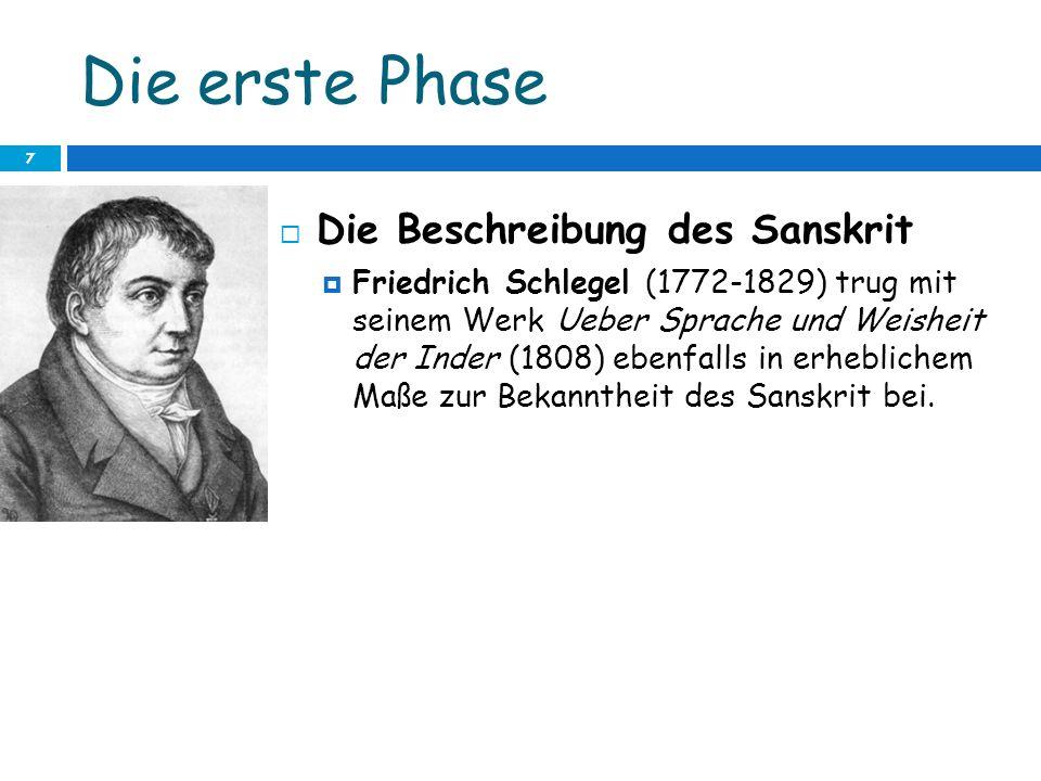 Die erste Phase 7 Die Beschreibung des Sanskrit Friedrich Schlegel (1772-1829) trug mit seinem Werk Ueber Sprache und Weisheit der Inder (1808) ebenfa