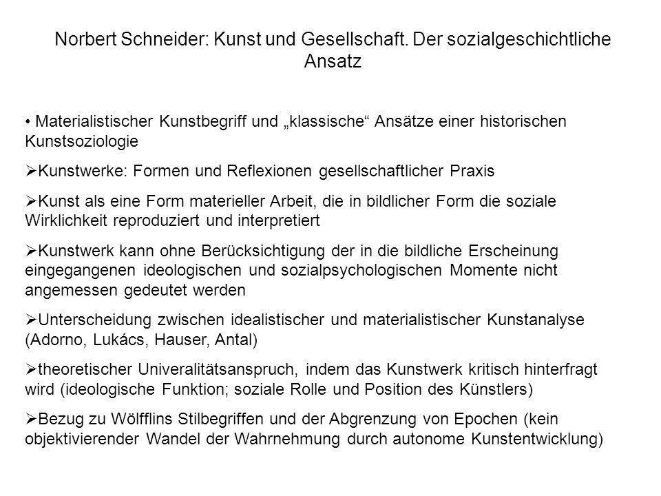 Norbert Schneider: Kunst und Gesellschaft. Der sozialgeschichtliche Ansatz Materialistischer Kunstbegriff und klassische Ansätze einer historischen Ku