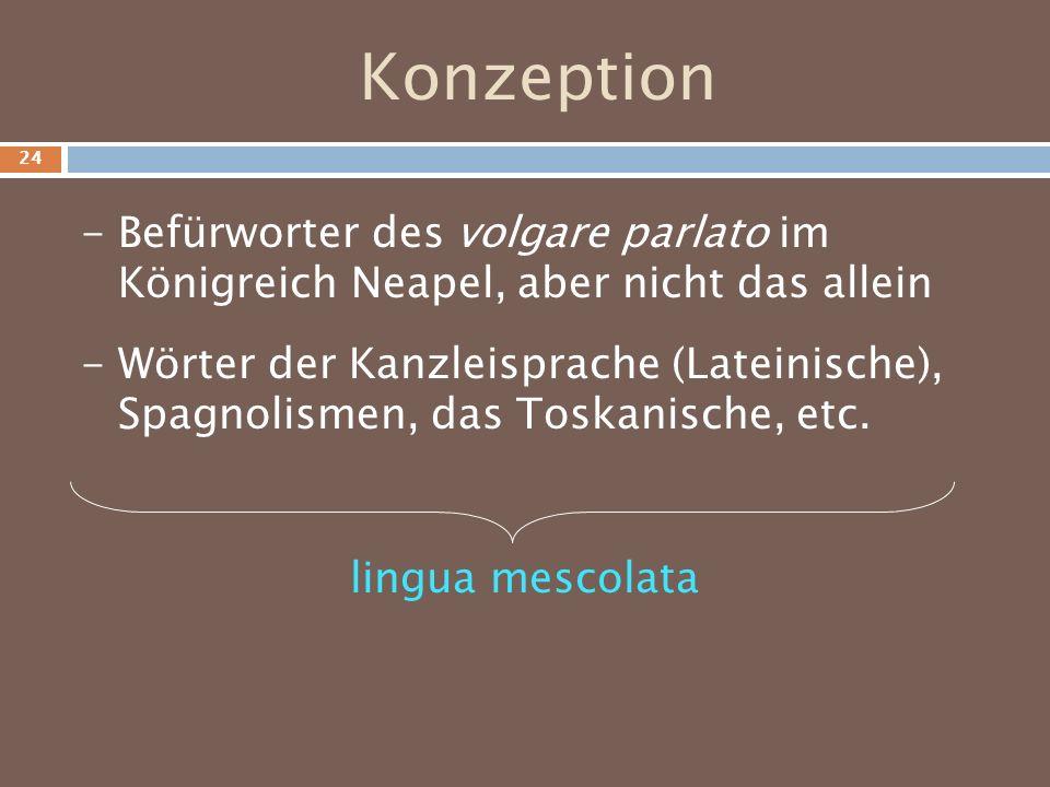 Konzeption - Wörter der Kanzleisprache (Lateinische), Spagnolismen, das Toskanische, etc. - Befürworter des volgare parlato im Königreich Neapel, aber