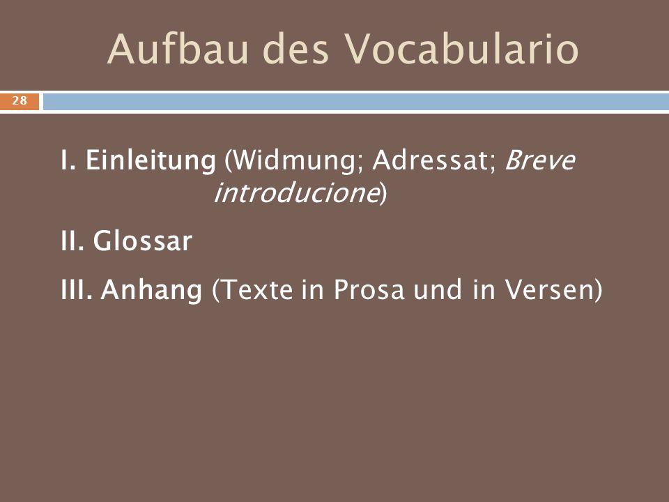 Aufbau des Vocabulario I. Einleitung (Widmung; Adressat; Breve introducione) II. Glossar III. Anhang (Texte in Prosa und in Versen) 28