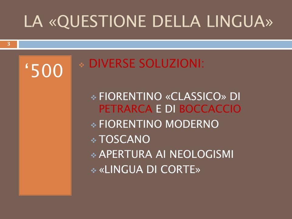 Konzeption - Wörter der Kanzleisprache (Lateinische), Spagnolismen, das Toskanische, etc.