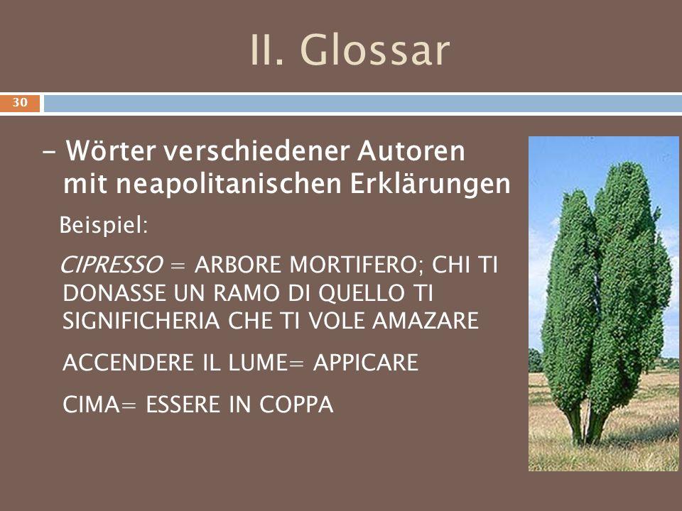 II. Glossar - Wörter verschiedener Autoren mit neapolitanischen Erklärungen Beispiel: CIPRESSO = ARBORE MORTIFERO; CHI TI DONASSE UN RAMO DI QUELLO TI
