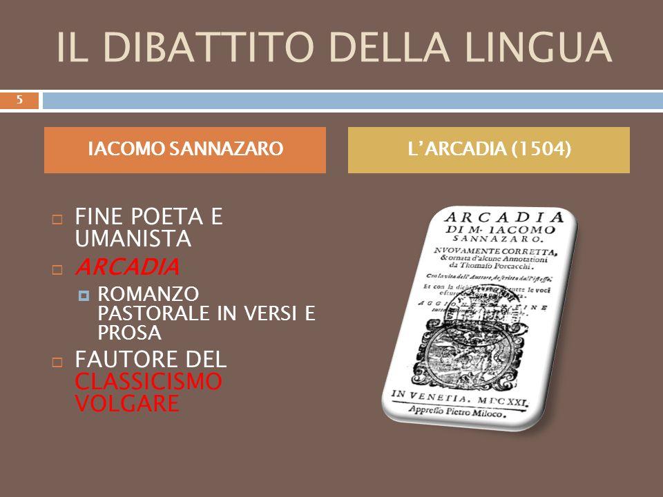 PIETRO BEMBO TRATTATISTA DAMORE (GLI ASOLANI, 1505) TEORICO DELLA QUESTIONE DELLA LINGUA (LE PROSE ALLA VOLGAR LINGUA, 1525) LIRICO (LE RIME, 1530) MODELLI : PETRARCA E BOCCACCIO DOMINIO NEL VOLGARE ASSOLUTO NELLA DIREZIONE GRAMMATICALE 6
