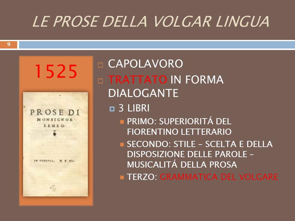 LE PROSE DELLA VOLGAR LINGUA 1525 CAPOLAVORO TRATTATO IN FORMA DIALOGANTE 3 LIBRI PRIMO: SUPERIORITÁ DEL FIORENTINO LETTERARIO SECONDO: STILE – SCELTA