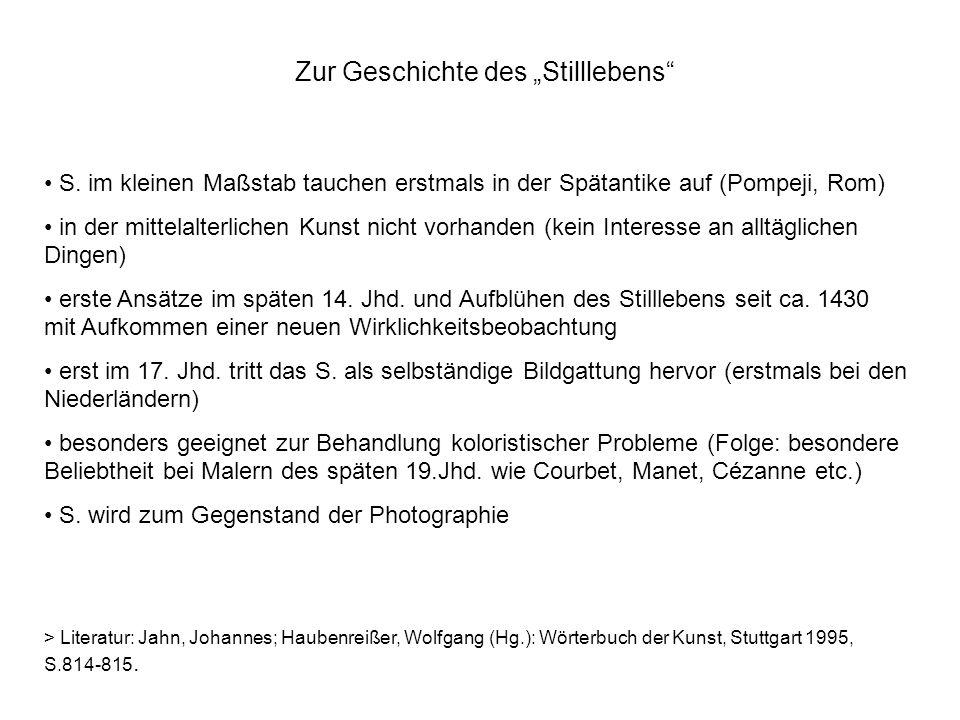 Zur Geschichte des Stilllebens S.