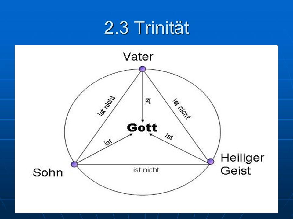 2.3 Trinität Lateinische Trinität Soziale Trinität Der eine, sich offenbarende Gott Drei als gleich- ursprünglich gedachte Personen Seins-, Existenz- oder Gegebenheits- weise