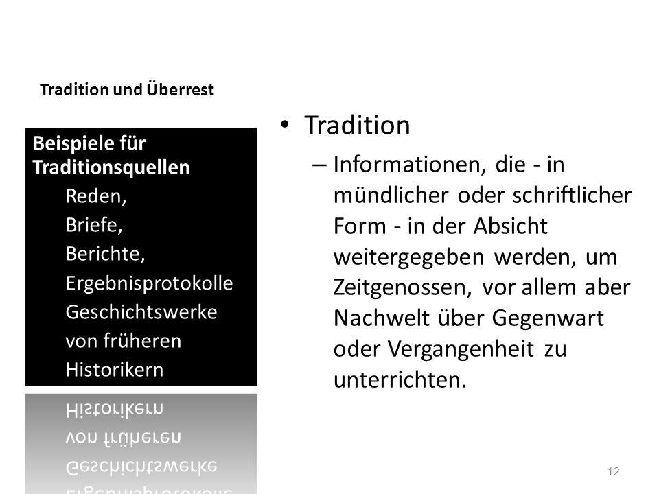 Tradition und Überrest Tradition – Informationen, die - in mündlicher oder schriftlicher Form - in der Absicht weitergegeben werden, um Zeitgenossen,
