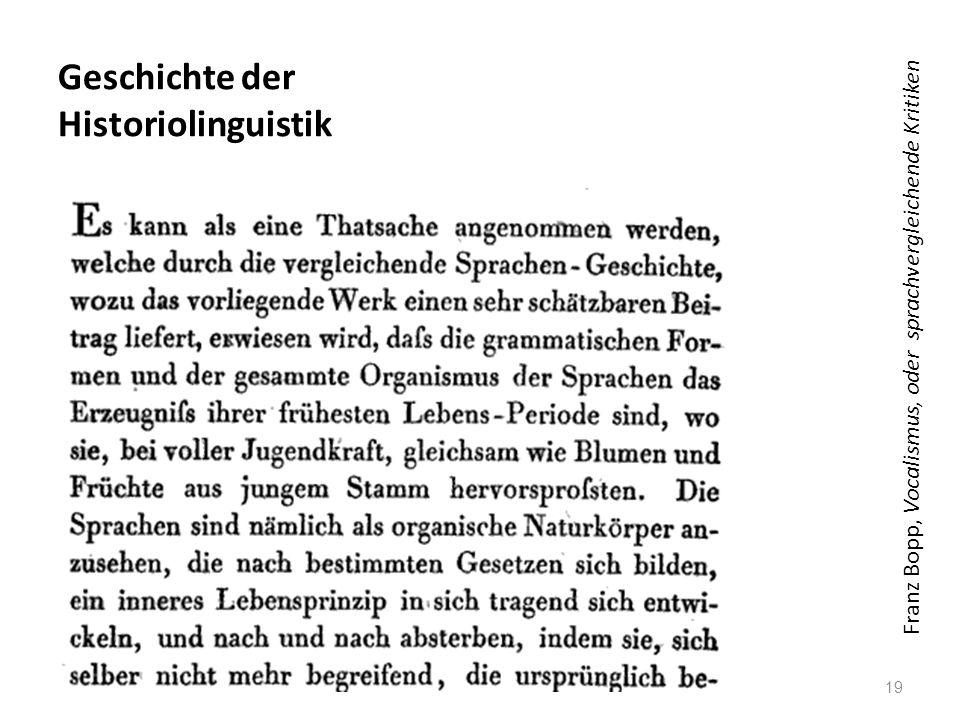 Geschichte der Historiolinguistik 19 Franz Bopp, Vocalismus, oder sprachvergleichende Kritiken