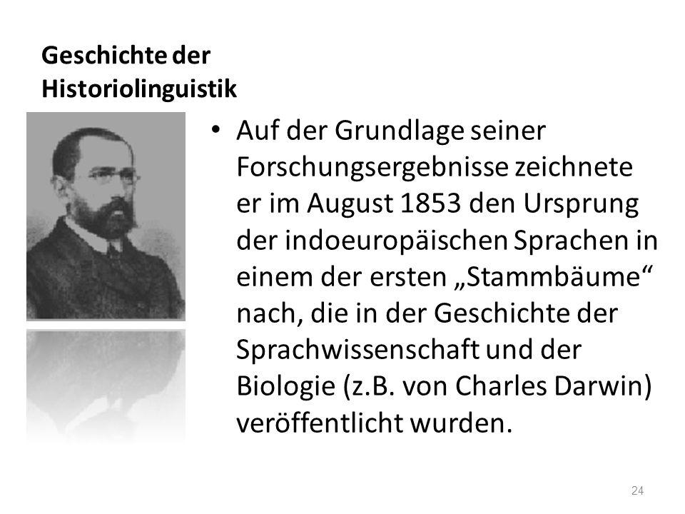 Geschichte der Historiolinguistik Auf der Grundlage seiner Forschungsergebnisse zeichnete er im August 1853 den Ursprung der indoeuropäischen Sprachen