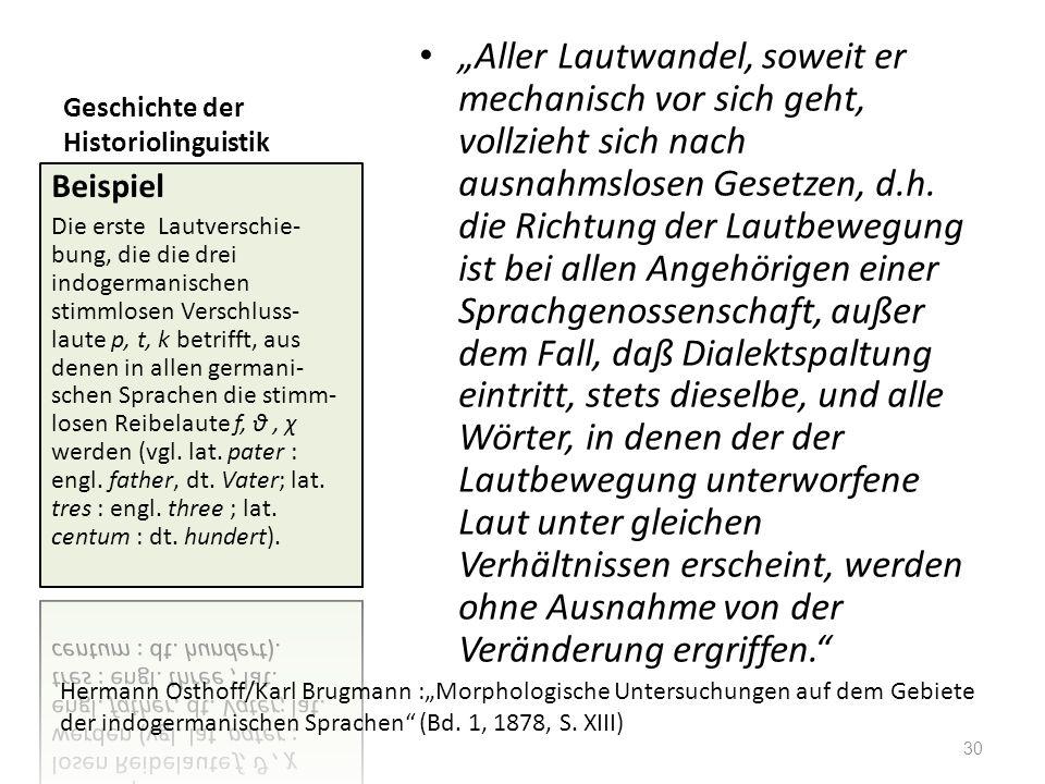 Geschichte der Historiolinguistik Aller Lautwandel, soweit er mechanisch vor sich geht, vollzieht sich nach ausnahmslosen Gesetzen, d.h. die Richtung