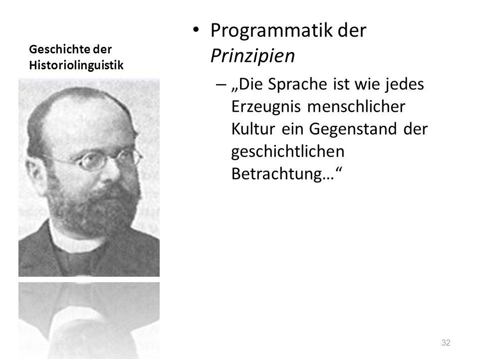 Geschichte der Historiolinguistik Programmatik der Prinzipien – Die Sprache ist wie jedes Erzeugnis menschlicher Kultur ein Gegenstand der geschichtli