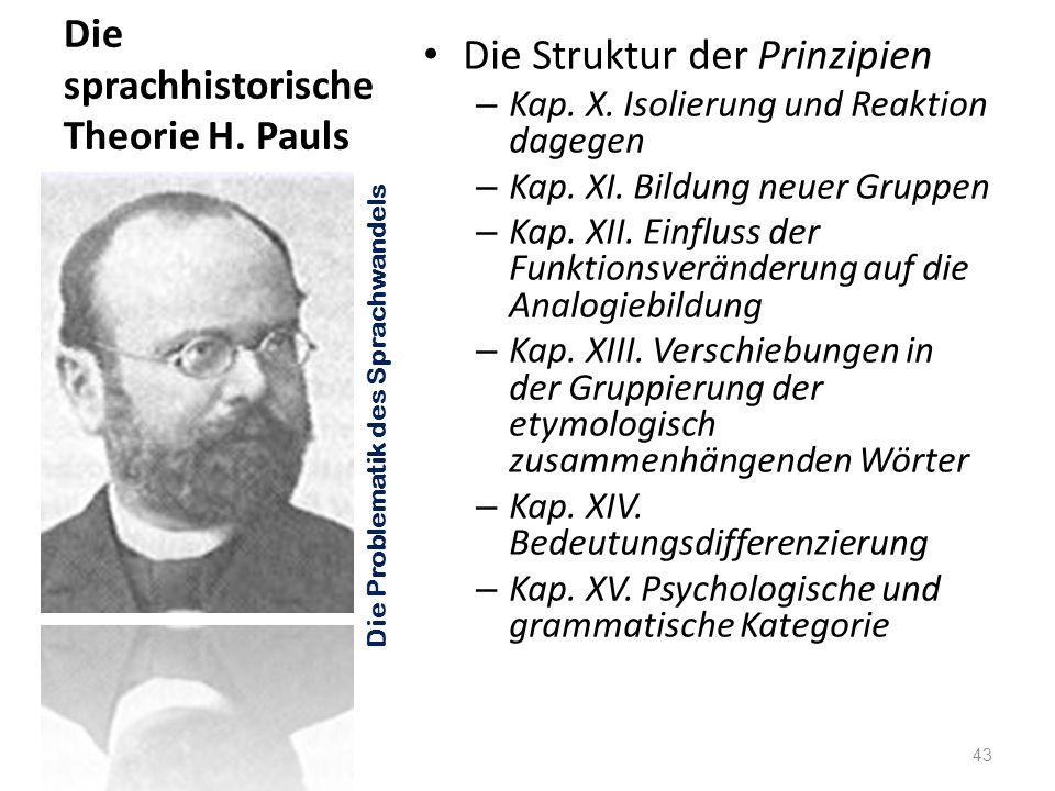 Die sprachhistorische Theorie H. Pauls Die Struktur der Prinzipien – Kap. X. Isolierung und Reaktion dagegen – Kap. XI. Bildung neuer Gruppen – Kap. X