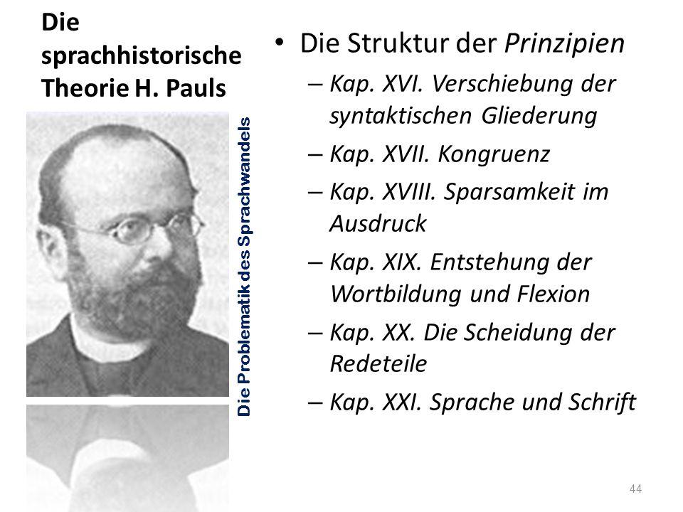 Die sprachhistorische Theorie H. Pauls Die Struktur der Prinzipien – Kap. XVI. Verschiebung der syntaktischen Gliederung – Kap. XVII. Kongruenz – Kap.