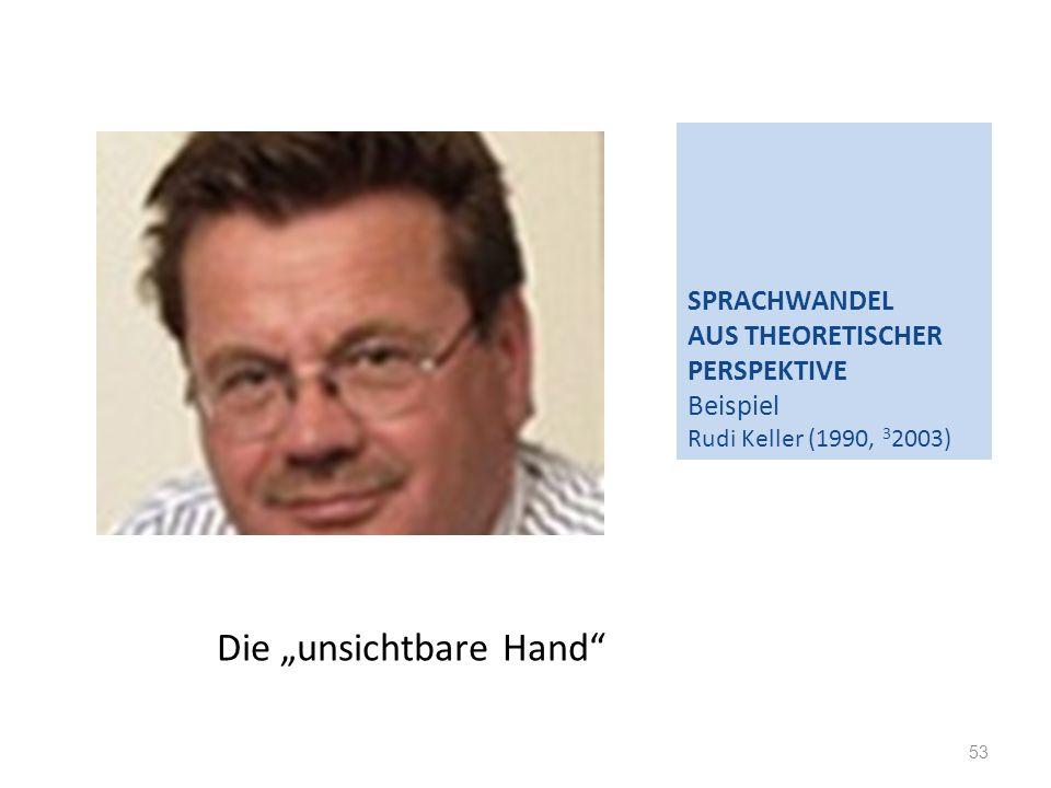 SPRACHWANDEL AUS THEORETISCHER PERSPEKTIVE Beispiel Rudi Keller (1990, 3 2003) 53 Die unsichtbare Hand