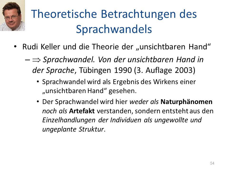 Theoretische Betrachtungen des Sprachwandels Rudi Keller und die Theorie der unsichtbaren Hand – Sprachwandel. Von der unsichtbaren Hand in der Sprach